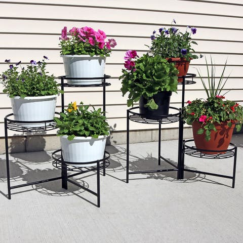 "Sunnydaze Black Three Tiered Indoor Outdoor Flower Plant Stand 22"" - Set of Two"