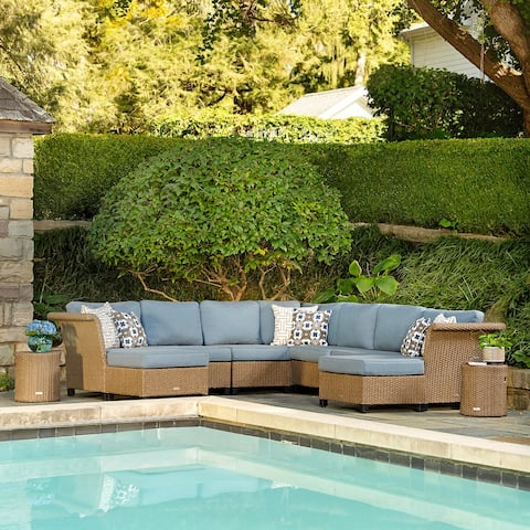 La-Z-Boy Nolin 7pc Weathered Brown Sectional Set with 2 Side Tables and 2 Ottomans, Sunbrella Spectrum Denim Fabric