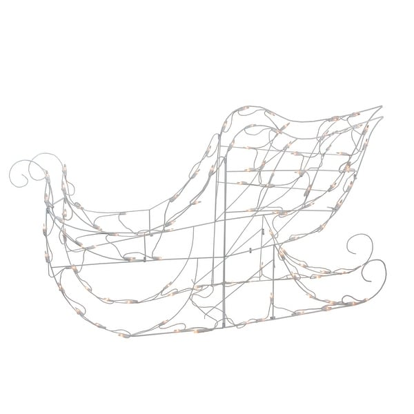 """48"""" Lighted White Sleigh Outdoor Christmas Decoration - Clear Lights. Opens flyout."""