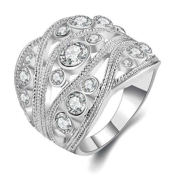 White Gold Plated Crystal Inline Geo Ring