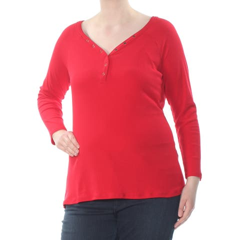 PLANET GOLD Womens Red Button Down Collar Long Sleeve V Neck T-Shirt Top Plus Size: 1X