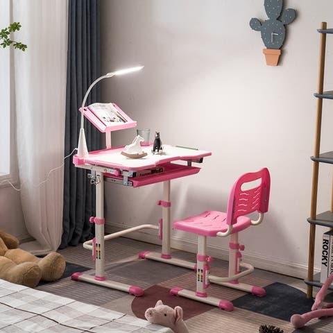 Kids' School Desk and Chair Set with Desk Lamp
