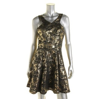 Aqua Womens Jacquard Metallic Party Dress