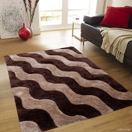 "AllStar Rugs Coco Shaggy Area Rug with 3D Light Brown Wavy Design. Contemporary Tween Hand Tufted (7' 6"" x 10' 5"")"