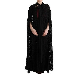 Dolce & Gabbana Black Floral Lace Maxi Dress - it38-xs
