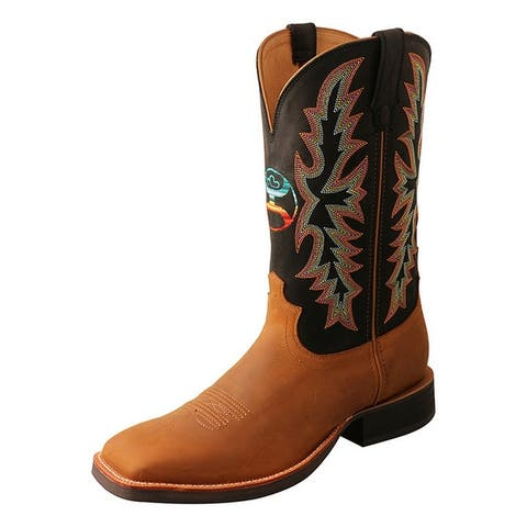 "HOOey Western Boots Mens 12"" Wide Square Toe Peanut Black"