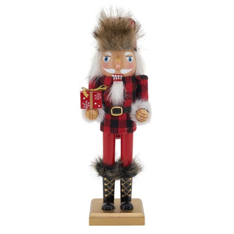 Nutcracker Decoration With Buffalo Plaid and Christmas Gift Design