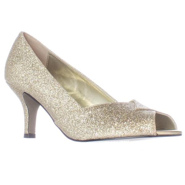 Easy Street Ravish Peep Toe Dress Pumps, Gold Glitter