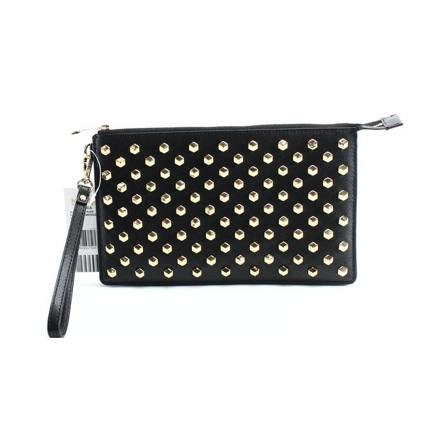 167e9faef8e0 Shop Michael Kors NEW Black Studded Leather Daniela Wristlet Clutch ...