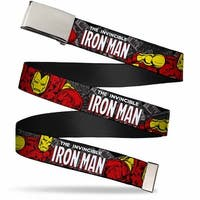 Marvel Comics Blank Chrome Buckle The Invincible Iron Man Stacked Web Belt