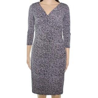 Lauren Ralph Lauren NEW Black White Printed 2 Sheath Ruched Dress