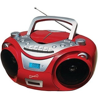 Supersonic Sc-709 Red Portable Mp3 & Cd Player With Cassette Recorder & Am/Fm Radio