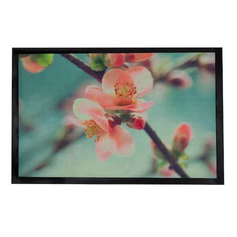 Indoor Printed Door Mat Flower PVC Polyester Rug 24x16 Pink