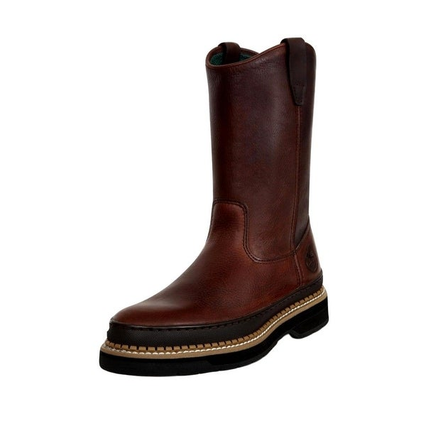 """Georgia Boot Work Mens 9"""" Giant Wellington Pull On Soggy Brown"""