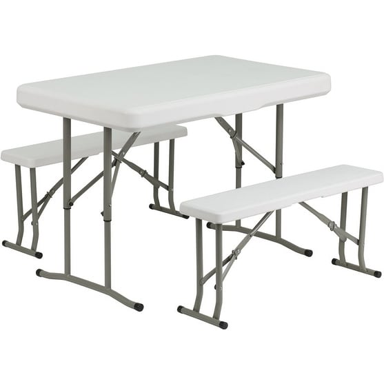 Rivera 3pcs Rectangular Plastic Folding Table w/2 Bench Set Granite White - Free Shipping Today - Overstock.com - 26305459  sc 1 st  Overstock & Rivera 3pcs Rectangular Plastic Folding Table w/2 Bench Set Granite ...