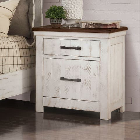 Furniture of America Ynez Transitional Distressed White Nightstand