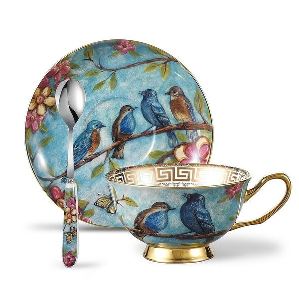 Panbado Bone China Blue Robin Tea Cup Set with Saucer Spoon