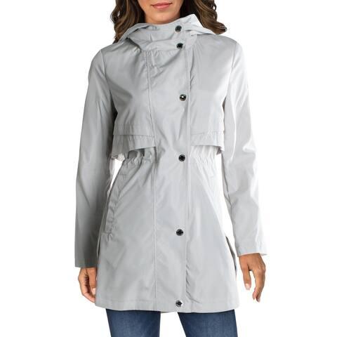 Via Spiga Women's Water Resistant Cinched Waist Anorak Jacket with Storm Flap