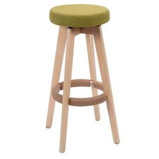 Costway 29-Inch Winsome Round Wood Bar Stool Dining Chair Counter Height Linen Seat