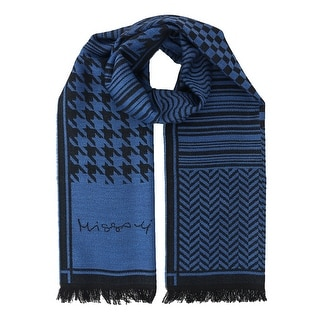 Missoni SC12WOU5857 0001 Blue/Black 100% Wool Scarf
