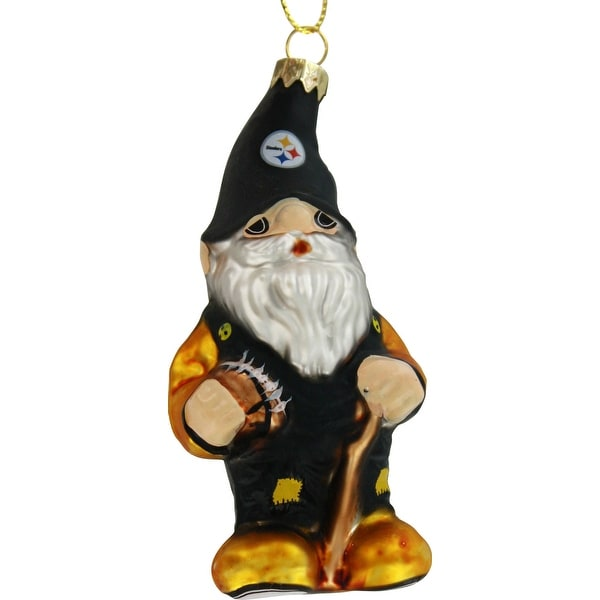 Pittsburgh Steelers Blown Glass Gnome Ornament