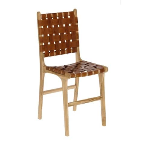 La Forma Calixta Brown Leather Dining Chairs (Set of 2)