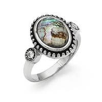 Chisel Stainless Steel Polished and Antiqued Synthetic Abalone and CZ Ring