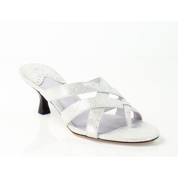 Johnston & Murphy NEW Silver Katy Shoes 7M Slides Suede Sandals