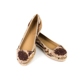 Prada Car Shoe Womens Tan Floral Canvas Espadrilles