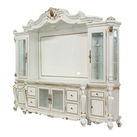 Scrolled Entertainment Center with TV Console, Antique White