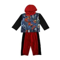 DC Comics Baby Boys Red Black Superman Hooded Top 2 Pc Pant Set