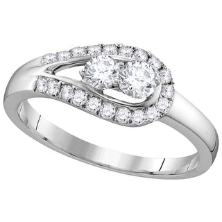 1/2Ctw Diamond Bridal Engagement Ring 10K White-Gold
