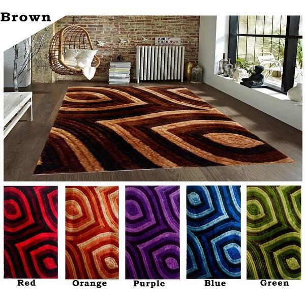 5x8 Feet Modern Contemporary Shag Shaggy Brown Red Orange Purple Blue Green Area Rug Carpet Rug Overstock 11968571