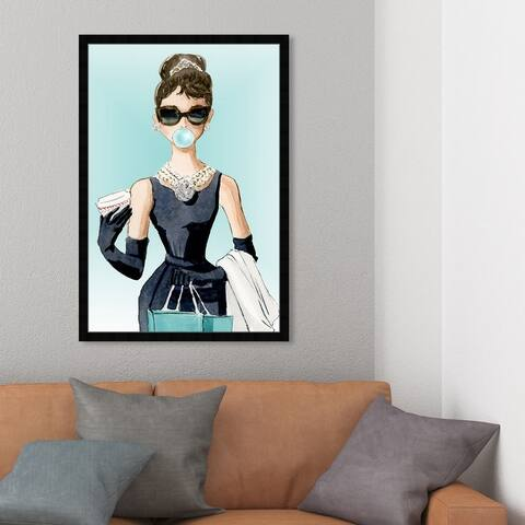 Oliver Gal 'Bubble Gum and Diamonds' People and Portraits Framed Wall Art Prints Celebrities - Blue, Black