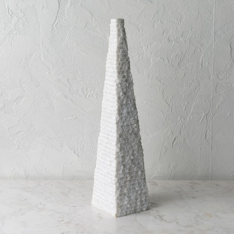 Ixie Carved Stone Pyramid Sculpture