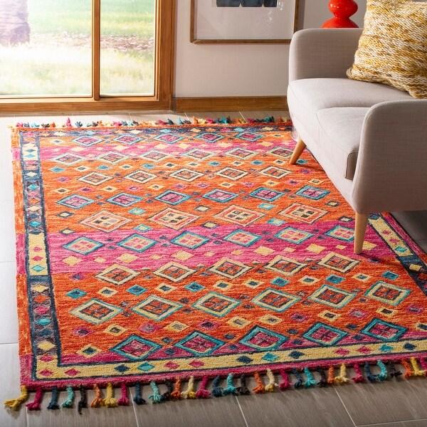 Safavieh Handmade Aspen Bohemian & Eclectic Tribal Orange/Fuchsia Wool Rug. Opens flyout.