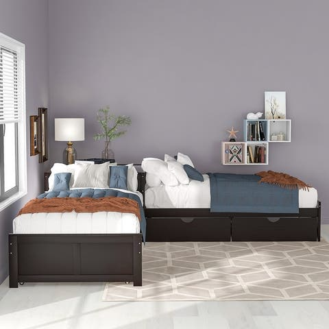 L-shaped Platform Bed with Trundle, Twin