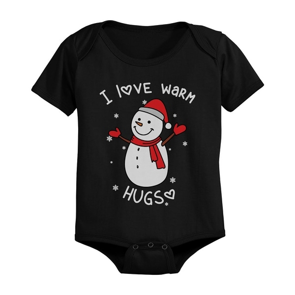 I Love Warm Hugs Snowman Cute Christmas Black Baby Bodysuit Gifts