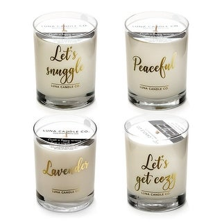 Premium, Highly Scented Lavender and Eucalyptus Jar Candles (Set of 4)