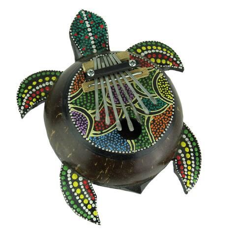 Colorful Dot Painted Karimba Coconut Sea Turtle Thumb Piano - 2.5 X 7.75 X 6.5 inches