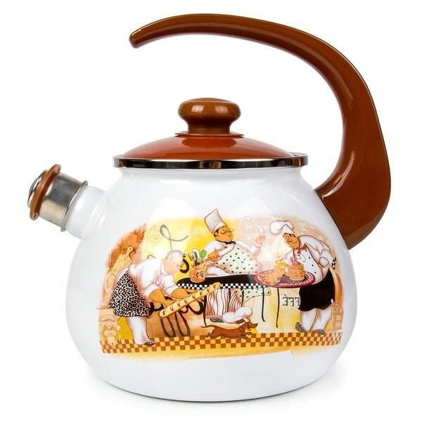 STP-Goods 2.7-Quart Chefs de Cuisine Enamel on Steel Whistle Tea Kettle