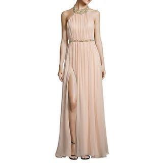 Marchesa Notte Embellished Silk High Halter Evening Gown Dress Blush