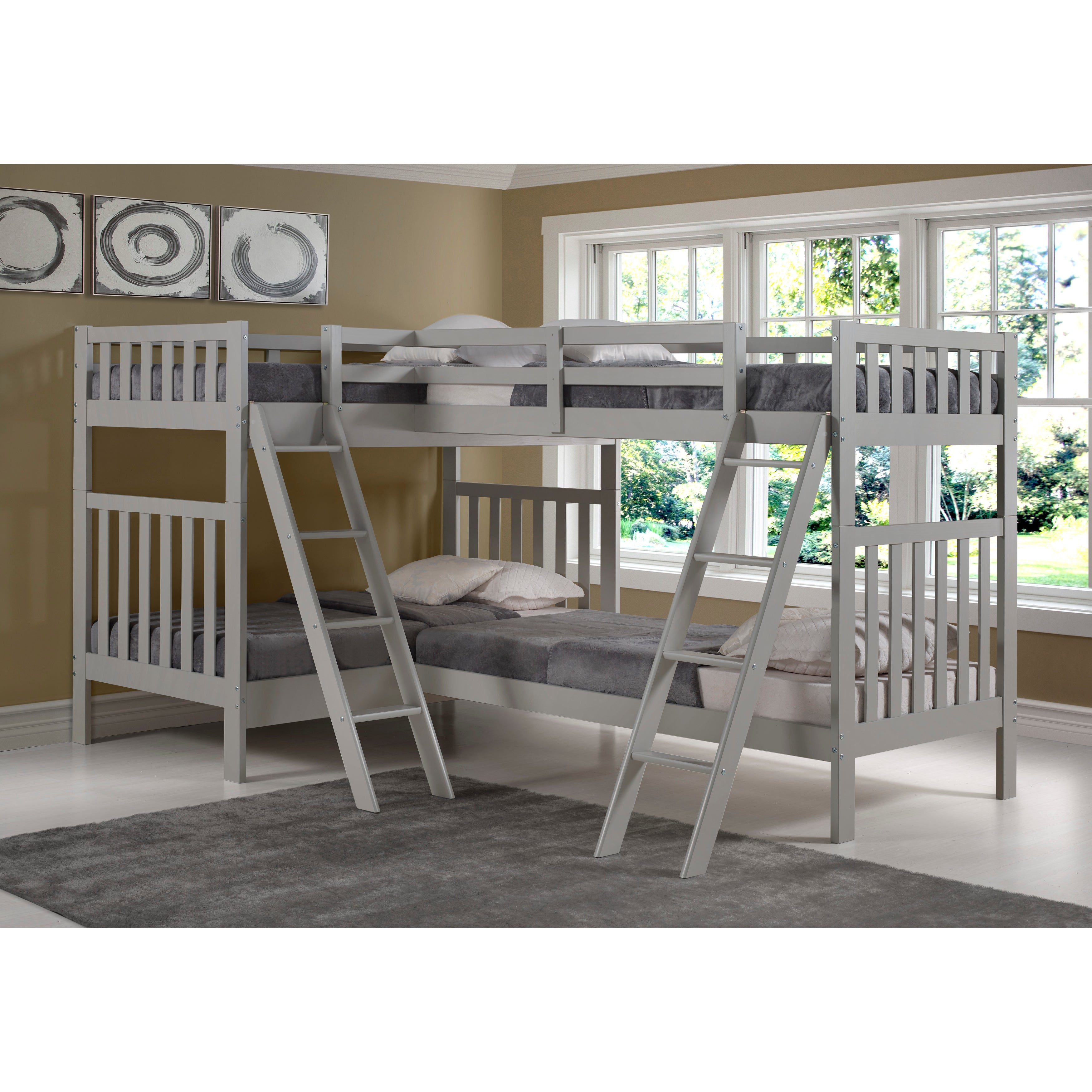 Aurora Solid Wood Twin Over Twin Bunk Bed With Quad Bunk Extension Overstock 22406181
