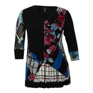 Style & Co Women's Printed Handkercheif-Hemmed Tunic Blouse - melodic mix