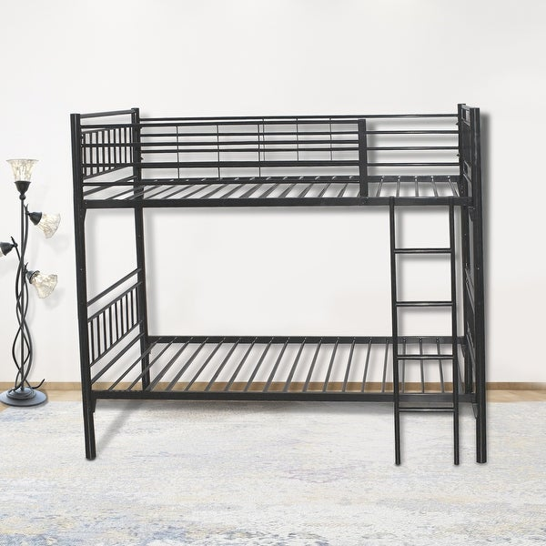 round metal tube black twin bunk beds with build-in-ladder for easy access to upper bunk. Opens flyout.