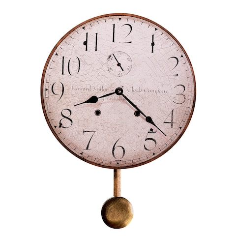 Howard Miller H. Miller 13 Inch Rustic, Industrial, Old World Style Distressed, Round Wall Clock with Pendulum