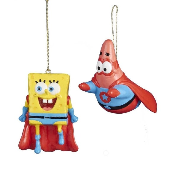 "Spongebob & Patrick Superhero 2-3"" Ornament Set"