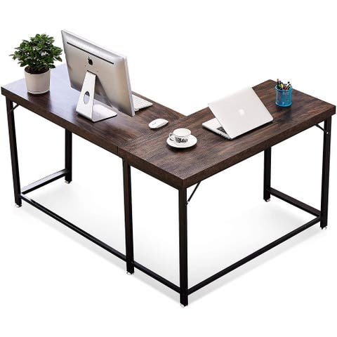 L-shaped Mixed Material Mid-century Corner Office Desk