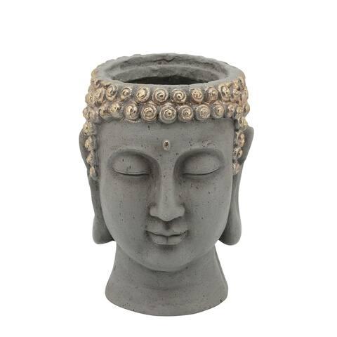 "9"" Gray and Gold Buddha Head Planter"