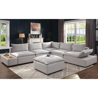 Link to Furniture of America Fren Contemporary Grey Sectional and Ottoman Set Similar Items in Living Room Furniture Sets